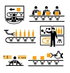 Factory production process icons vector image vector image