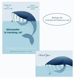 Big whale and little ship Birthday Invitation vector image vector image
