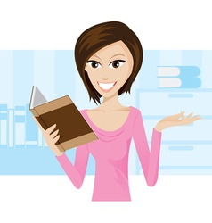 girl book vector image vector image