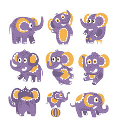 stylized elephant with polka-dotted pattern set of vector image vector image