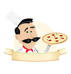 Chef pizza restaurant banner vector