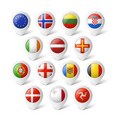 Map pointers with flags Europe vector image vector image
