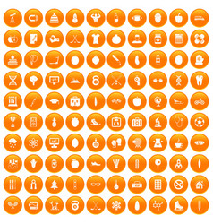 100 well person icons set orange vector
