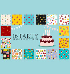 16 party seamless pattern collection set eps10 vector image