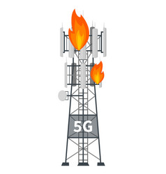 5g mast base station tower on fire vector