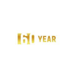 60 year happy birthday gold logo on white vector image