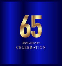 65 year anniversary celebration gold blue vector