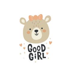 a cute lady bear face vector image
