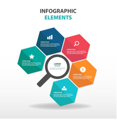 abstract business magnifier infographics elements vector image