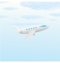 airplane icon cartoon plane in blue sky vector image
