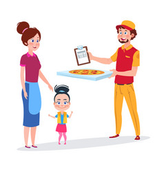 Baby girl and her mother rejoice pizza delivery vector
