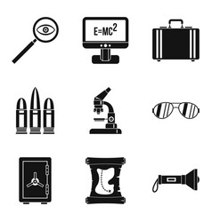 Ballistic icons set simple style vector