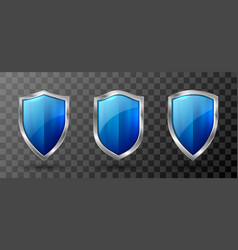 Blue acrylic shield metal frame realistic trophy vector