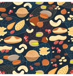 Bright pattern of different nuts vector