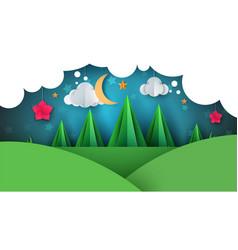 cartoon paper landscape fir moon vector image