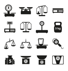 cartoon weight scales silhouette black icons set vector image