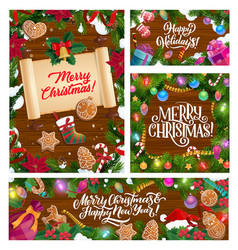 christmas holiday greetings decorations in snow vector image