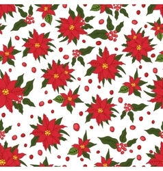 Christmas seamless patternRed Poinsettia flowers vector image