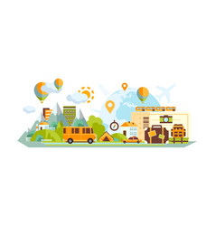 city and countryside landscape with location marks vector image