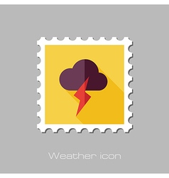 Cloud Lightning flat stamp Meteorology Weather vector