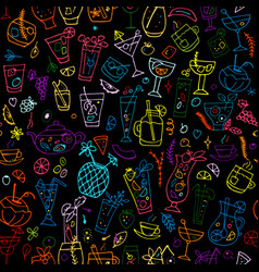 cocktails collection seamless pattern for your vector image