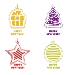 Collection icons Happy New Year and Christmas vector