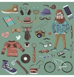 Colored hand-drawn Hipster style vector image