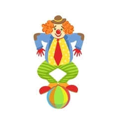 Colorful Friendly Clown Balancing On Ball In vector image