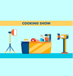 Cooking show set studio flat vector