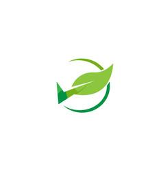 Creative abstract check leaf icon logo vector
