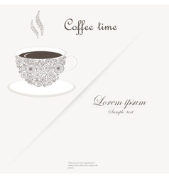 Cup of coffee with curly design elements vector image