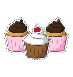 cupcake dessert collection vector image