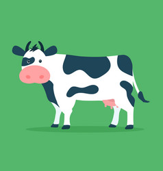 cute cow isolated on green background vector image