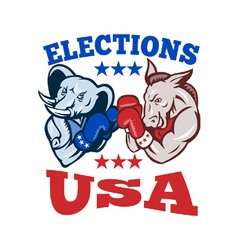 Democrat Donkey Republican Elephant Mascot USA vector image