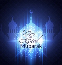Eid Mubarak Greeting Card with mosque vector image