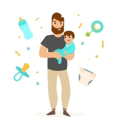 Father with Little Baby vector image
