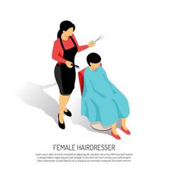 Female hair stylist isometric vector