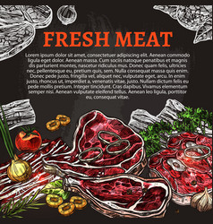 Fresh meat chalkboard poster butcher shop design vector