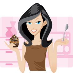 girl cupcake vector image vector image