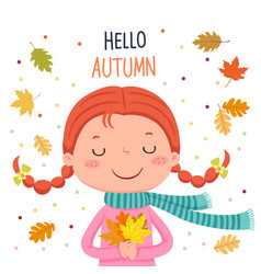 Girl holding autumn leaves hello autumn vector