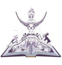girl thumbelina flies on swallow open book fairy vector image