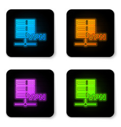 Glowing neon server vpn icon isolated on white vector