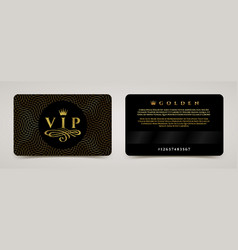 Golden vip card template - type design with crown vector