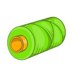 Green bobbin of thread icon cartoon style vector
