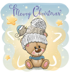 Greeting christmas card with cartoon teddy bear vector