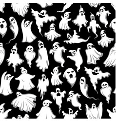 halloween ghost seamless pattern vector image