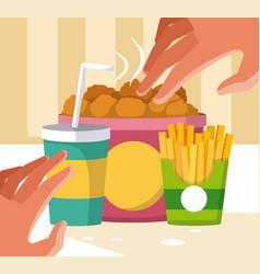 Hand grabbing fast food vector