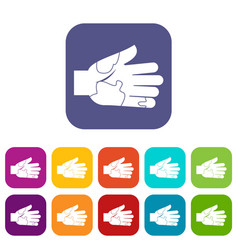 Hand with stains icons set flat vector