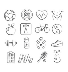 Health and fitness doodle icons vector