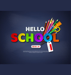 Hello school sale poster vector